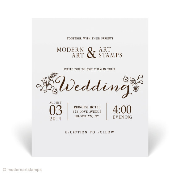 Wedding Invitation Stamp Custom Personalized Elegant W21