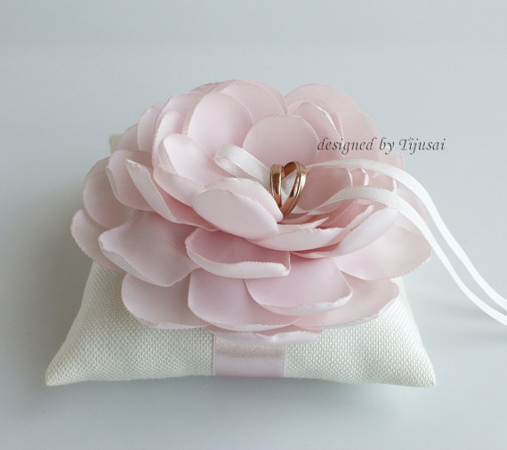 Ivory Wedding Pillow With Light Pink Flower wedding Ring Pillow