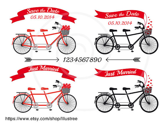 Wedding - Wedding invitation clip art, tandem bicycle, banners, ribbons, save the date, just married, digital clipart set, vector, instant download
