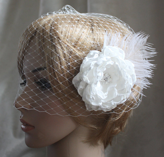 Mariage - Bandeau Birdcage Wedding Veil and detachable Fascinator Vintage inspired Blusher hair flower  Diamond white