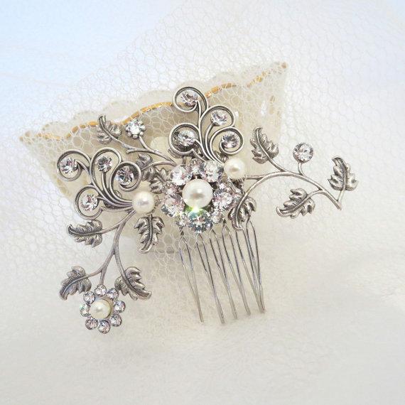 Свадьба - Bridal hair comb, Vintage hair comb, Bridal headpiece, Wedding hair clip, Crystal hair comb, Bridal jewelry, Hair accessories, Swarovski