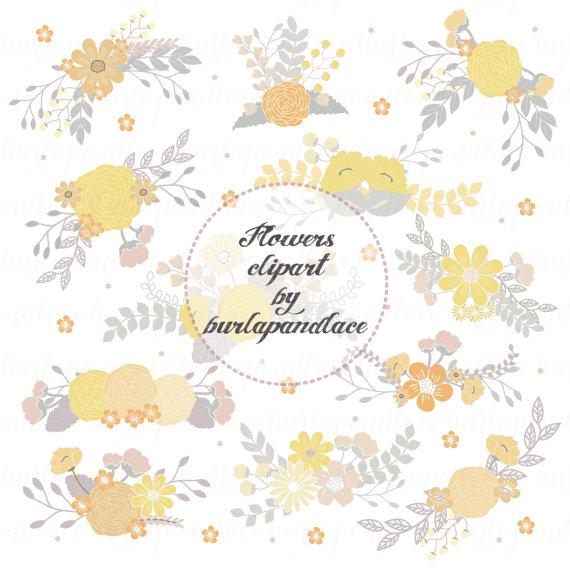 زفاف - Wedding Floral Clip Art, Hand Illustrated Digital Flowers , Flower and Laurel Clip Art, PNG Flower Clip Art,  Wreath flower