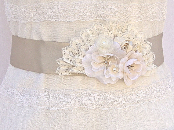 زفاف - SALE-25% OFF, Bridal Sash, Wedding Sash in Champagne Taupe ANd Ivory With Lace And Pearls,  Bridal Belt, Flower Sash