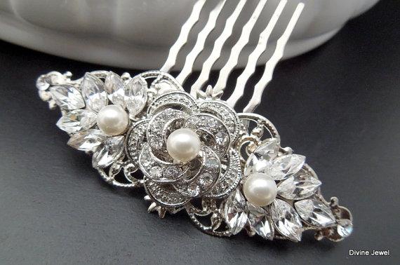 Свадьба - Pearl Hair Comb,Bridal Pearl Rhinestone Hair Comb,Wedding Rhinestone Hair Comb,Rose Rhinestone Hair Comb,Ivory Pearls,Pearl,Rose,ROSELANI