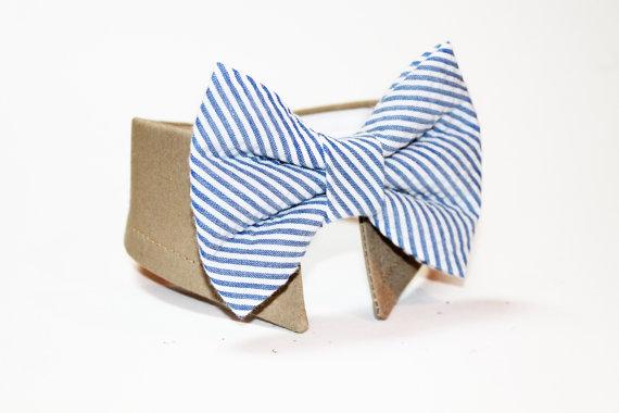 زفاف - Seersucker Dog Bow Tie Collar- Shirt and Bow Tie Collar- Wedding Dog Bow Tie- Navy