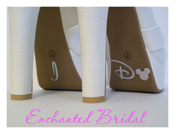 Mariage - Disney Inspired I Do Shoe Stickers You Pick Color Sparkly Vinyl Wedding Shoe Decals