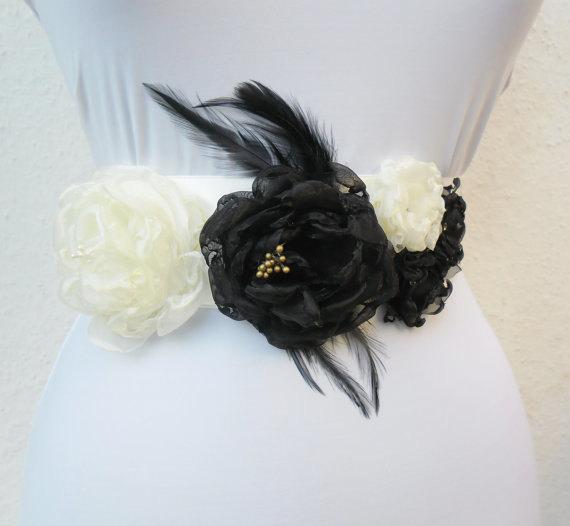 زفاف - Wedding Belt,Sash,Flower,Bride,Bridesmaid,Ivory-Black.