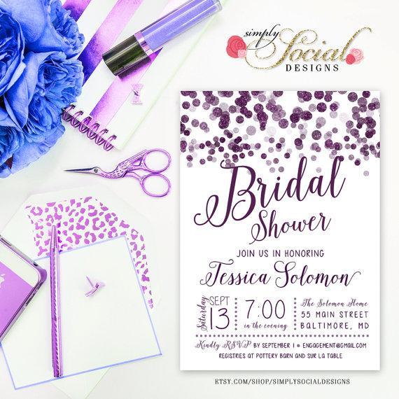 Mariage - Glitter Glam Purple Confetti Bridal Shower Invitation Printable