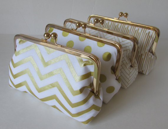 Mariage - Bridesmaid Gift, Gold and white Wedding Clutches, Accessory, clutches