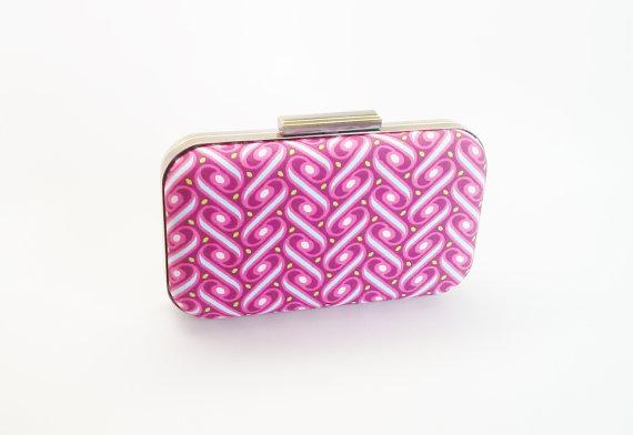 Mariage - fuchsia clutch, fuchsia bridesmaids gift, bridal accessories, pink bridesmaids, hot pink minaudiere, fuchsia weddings, mint and hot pink