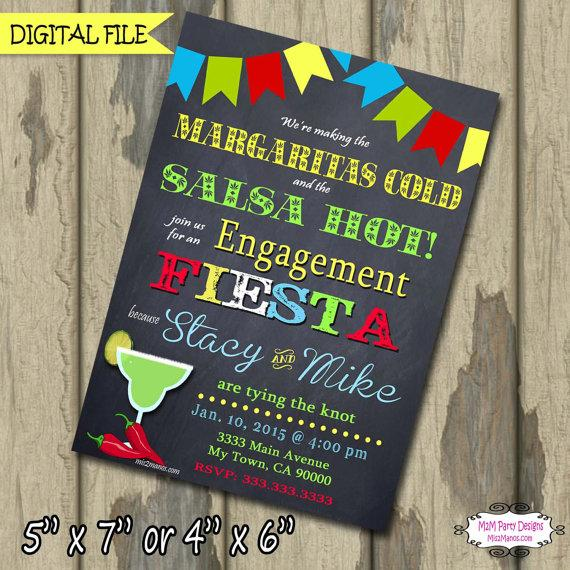 Mariage - Bridal Shower Invitations, Engagement Party  Mexican Fiesta, Dinner Rehearsal DIY Digital File