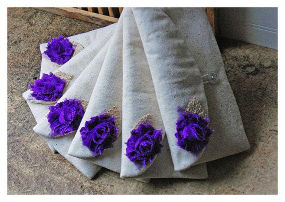 Свадьба - burlap lace wedding -ONE BAG FREE- bridesmaid gift Bridesmaid Clutch Purse shabby chic Bridal clutch Wedding purse clutch set 7 Personalize