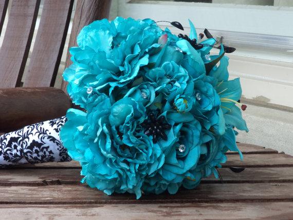 Свадьба - Teal Silk Bridal Bouquet and Grooms Boutonniere / Silk Wedding Flowers / Silk Bridal Buquet / Artificial Flowers / Teal Wedding Flowers