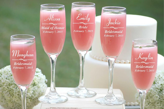 9 Personalized Champagne Glasses Custom Engraved Toasting Glasses