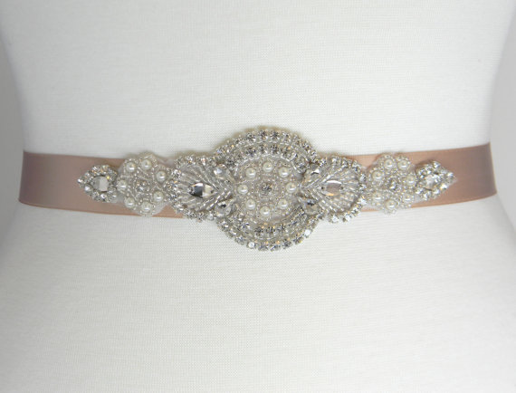 Mariage - Champagne Bridal Belt - Wedding Belt - Bridal Sash - Bridesmaid Belt - Crystal Wedding Dress Belt - Champagne Bridal Sash - BELLA II