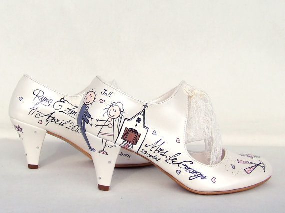 Mariage - Cartoon Bride and Groom&the Wedding Chapel - Customized Bridal Shoes