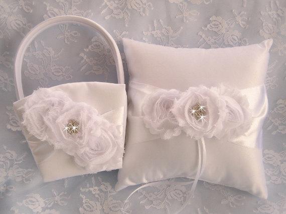 Mariage - White Flower Girl Basket ,  Ring Bearer Pillow   Champagne and Roses, Flower Girl Basket Vintage CUSTOM COLORS  too Wedding Pillow