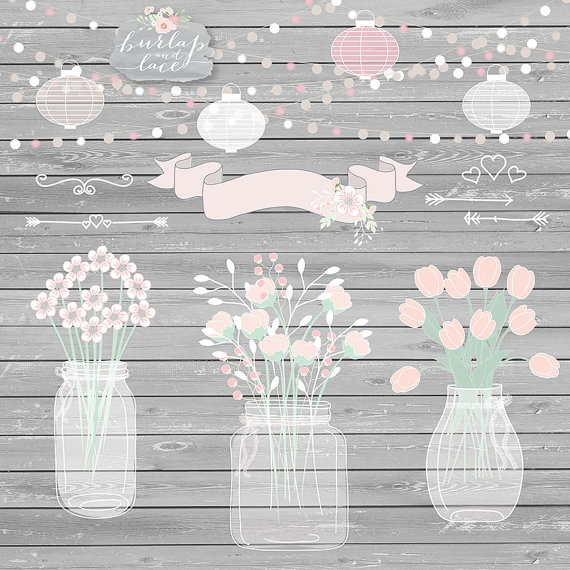 Hochzeit - Mason Jar Wedding Invitation clipart, Lampion, bouchet, Rustic Mason Jar Country Wedding Invitations with Flowers, wood grain background