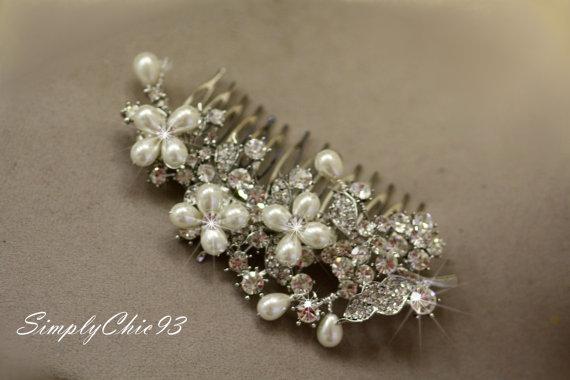 Свадьба - Bridal Hair comb, Crystal Hair Comb, Swarovski comb, Roses, Hair Flower, Wedding Accessories,pearl hair comb,(Rosetta )