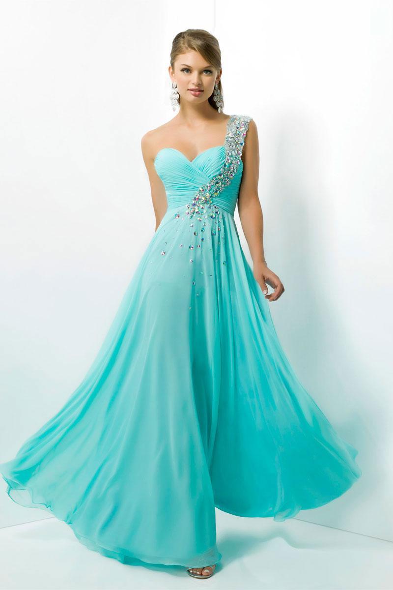 Chiffon Zipper Natural Waist One Shoulder A-line Prom Dress - Cheap ...