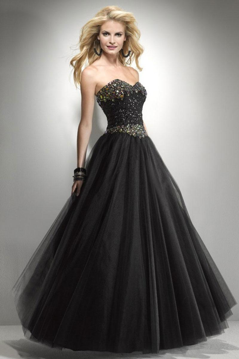 Mariage - Princess Tulle Sweetheart Natural Waist Floor-Length Prom Dress