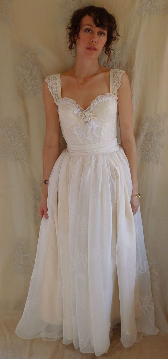 RESERVED Fern Bustier Wedding Gown... Whimsical Dress Woodland Boho ...