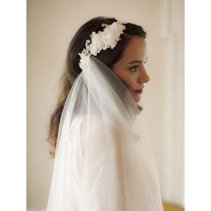 زفاف - Marvella Beaded Lace Headband And 2 Layer Veil - Ivory