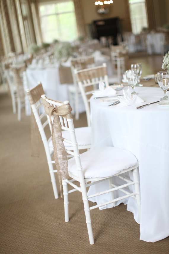Mariage - 50 Stitched Burlap Chair Sashes Rustic Wedding Chair Decoration