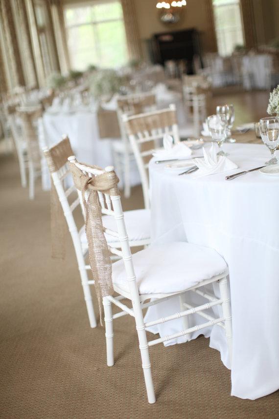 50 Stitched Burlap Chair Sashes Rustic Wedding Decoration
