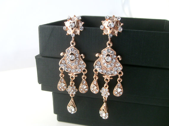 Mariage - Bridal earrings -Rose gold chandelier earrings-Wedding earrings-Rose gold art deco rhinestone Swaroski crystal  earrings - Wedding jewelry