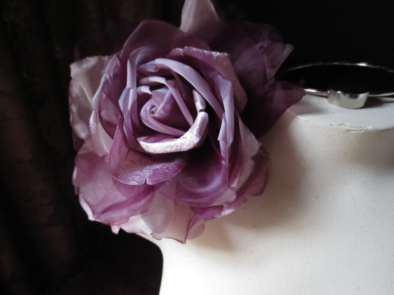 Mariage - SALE Silk and Organza Rose in Raspberry Lavender for Bridal, Bouquets, Hats MF 137 - 5022