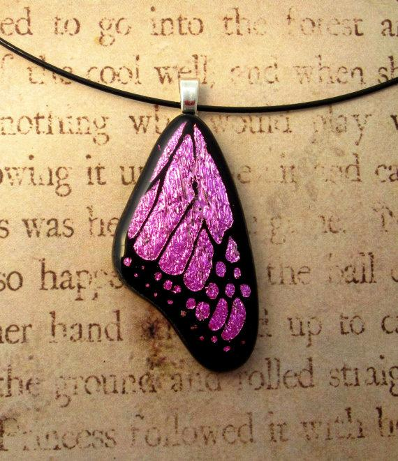 Mariage - Fused Glass Butterfly Wing Necklace Pendant Jewelry Pink Medium