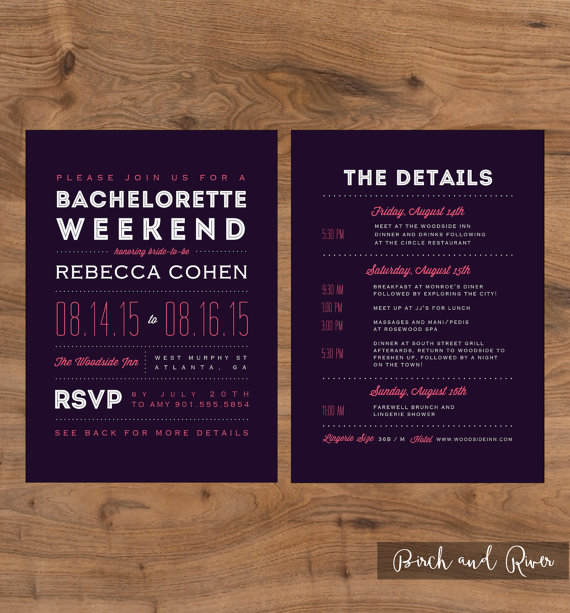 Mariage - Printable Bachelorette Weekend Invitation and Itinerary