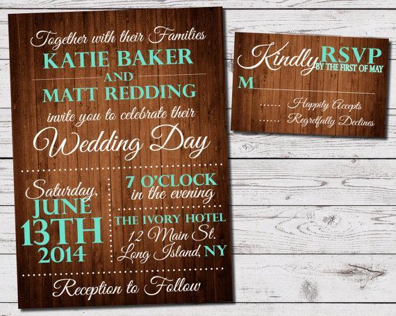 Coral And Teal Wedding Invitations: Rustic Wood Wedding Invitation And RSVP Set (printable