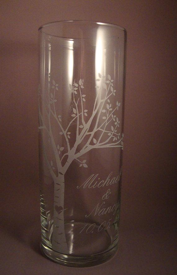 Wedding Unity Candle Vase Rustic Blooming Sweetheart Tree