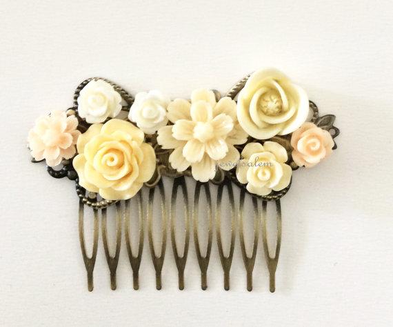 Boda - Cream Wedding Comb Ivory Hair Accessories Bridal Woodland Rose Flower Hair Slide Light Pale Yellow Bridesmaids Head Piece Shabby Chic WR