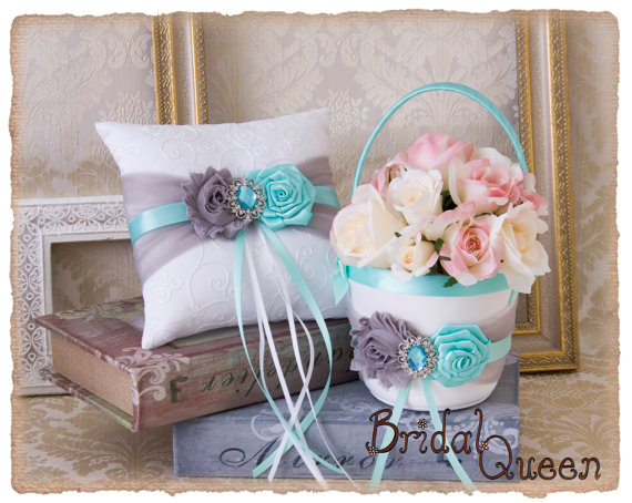 Wedding - Aqua Flower Girl Basket, Aqua Grey Wedding Ring Bearer Pillow, Wedding Ring Pillow, Wedding Pillow, Flower Girl basket, Custom Color