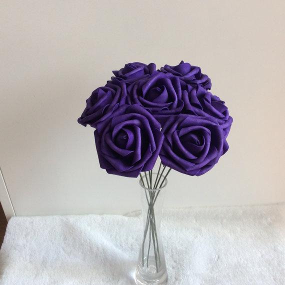 "Mariage - 100 pcs Dark Purple Wedding Flowers Artificial Foam Roses Diameter 3"" For Bridal Bouquet Table Centerpiece"