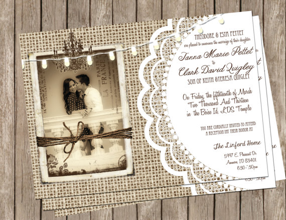 Свадьба - Burlap and Lace Wedding, Invitation, Rustic, Chandelier,String of Lights, Photo Invitation, Printable,, Digital File Personalized, 5x7,