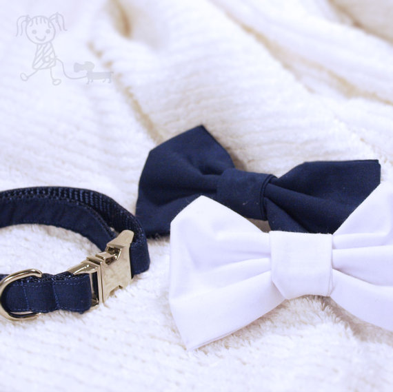 Свадьба - Gray, Black, Navy, or White Snap-On Bowtie Dog Collar - Bowties Sold Separately - Weddings, Parties, Embroidery Available - Spaghetti and Me