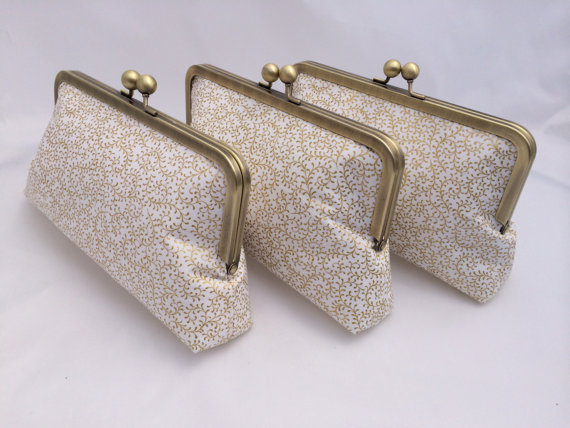 Mariage - Gold Wedding Clutch for Bridal Party Gift, Wedding Party Gift for Bridesmaids- Design your Own in Various Colors