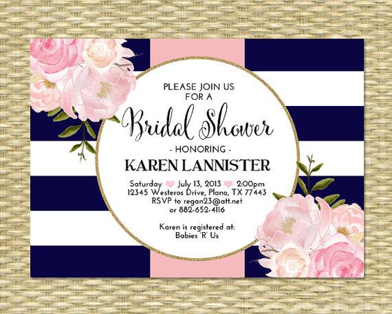 99068c015d2f Bridal Shower Invitation Navy Blue Pink Gold Glitter Stripes Floral Peonies  Bridal Brunch Bridal Tea Birthday Party Invitation
