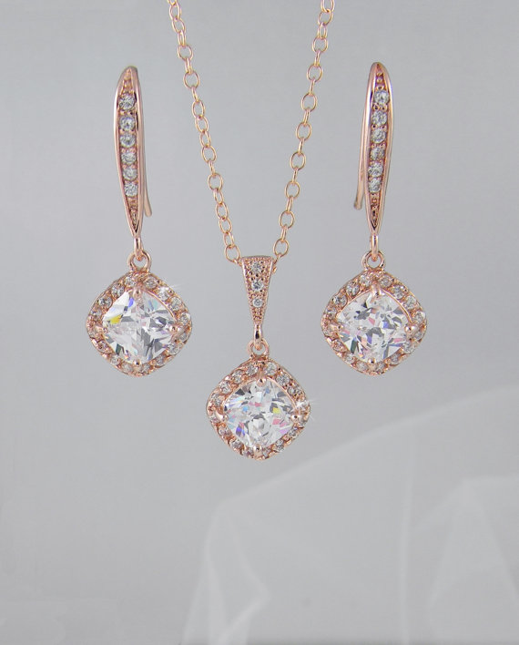 Rose Gold Bridal Jewelry Set Cushion Cut Crystals Bridesmaid