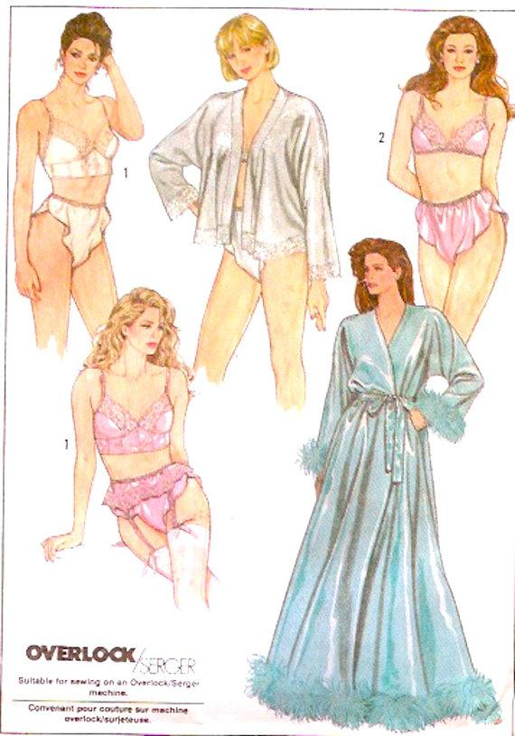 Panties robe honeymoon bridal vintage sewing pattern simplicity 8957