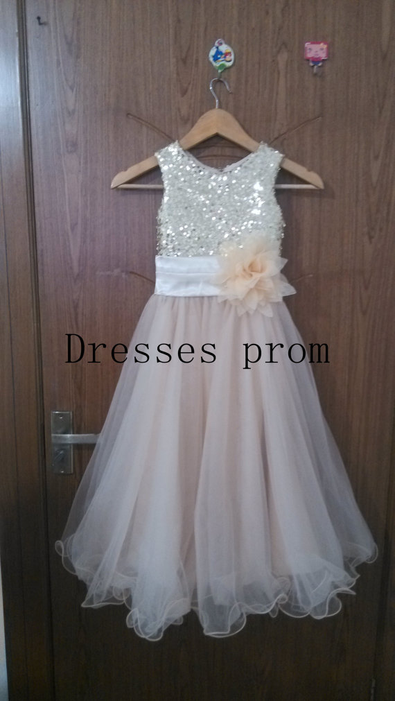Mariage - Gold Sequins Tulle Flower Girl Dress Silver Shallow champagne Country Wedding Baby Girls Dress Rustic Baby Girl Dress 2014