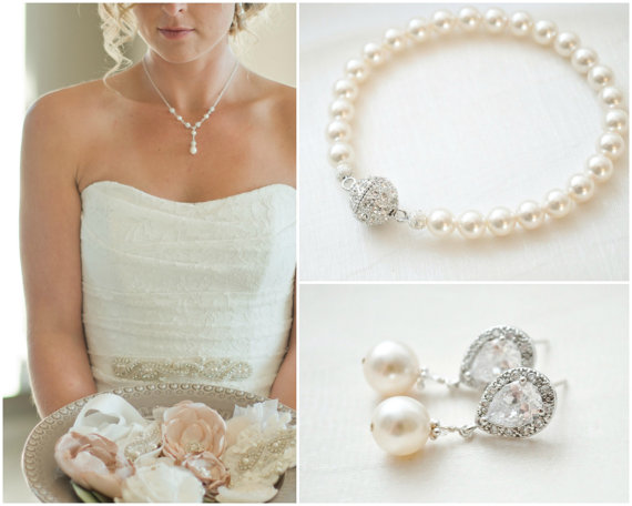 Bridal Jewellery Set Pearl And Rhinestone Wedding Bracelet Earrings
