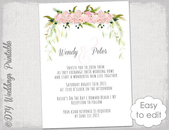 wedding invitation template printable wedding invitations blush pink