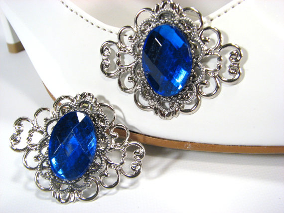 Свадьба - Sapphire Blue Shoe Clips Silver Filigree Accessories for your Shoes