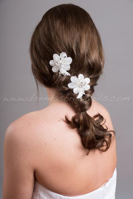 Свадьба - Wedding Hair Accessory, Bridal Rhinestone Flower Headpiece, Bridal Flower Hair Clips - Zayla