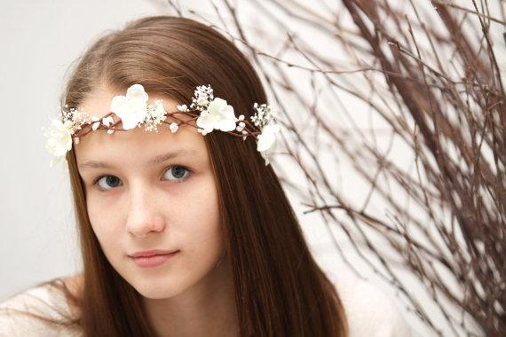 Свадьба - Wedding flower crown, Babys breath flower crown, ivory flower crown, Flower girl headpiece, Wedding hair accessories